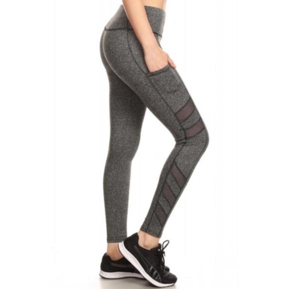 5e78250524f9b2 Pants | Grey Leggings With Black Mesh Detail | Poshmark